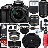 Nikon D3400 24.2 MP DSLR Camera + AF-P DX 18-55mm & 70-300mm NIKKOR Zoom Lens Kit + 64GB Memory Bundle + Nikon Photo Bag + Wide Angle Lens + 2x Telephoto Lens + Flash + Remote +Tripod+Filters (Black)