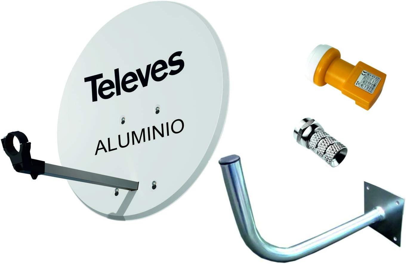 Kit Antena PARABOLICA 63cm Aluminio TELEVES + Soporte a Pared