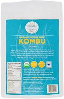 product image for Ocean's Balance Organic Whole Leaf Kombu - Maine Coast Seaweed - Atlantic Ocean Sea Vegetables, Perfect for Keto Diet, Paleo Diet, Vegetarian Lifestyle or Vegan Diet - Gluten Free - 1oz Bag x 3 Bags