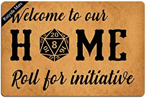 Entrance Mat Welcome to Our Home Roll for Initiative Funny Doormat Door Mat Decorative Indoor Non-Woven 23.6 by 15.7 Inch Machine Washable Fabric Top