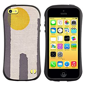 Be-Star Impreso Colorido Diseño Antichoque Caso Del Iface Primera Clase Tpu Carcasa Funda Case Cubierta Par Apple iPhone 5C ( sun yellow grey minimalist desert )