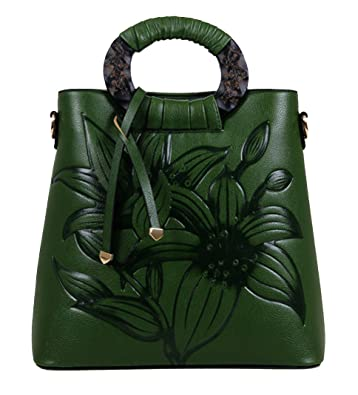 5a6cdc9c7a3a Amazon.com  Yan Show Women s Chinese Style Retro Embossed Shoulder Bag  Ladies Handbag Diagonal Package Green  Tommy LV