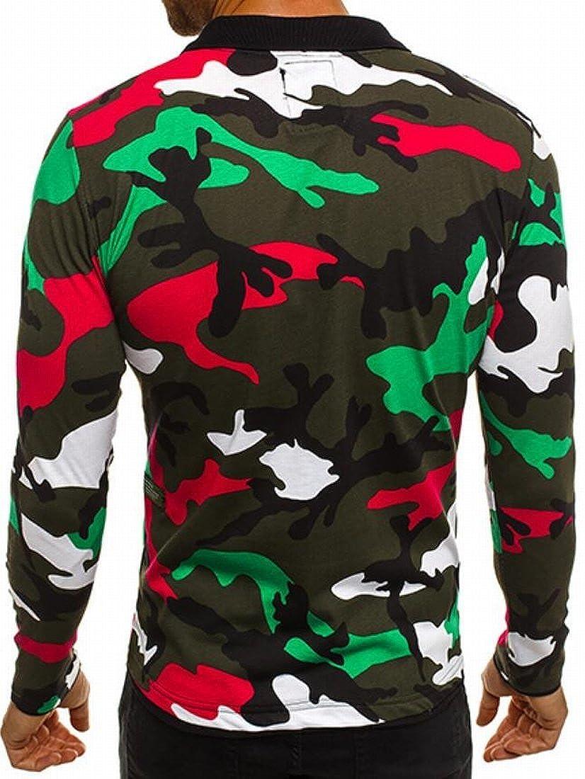 Nanquan Men Zipper Camouflage Long Sleeve Slim Fit Polo Shirt Tops