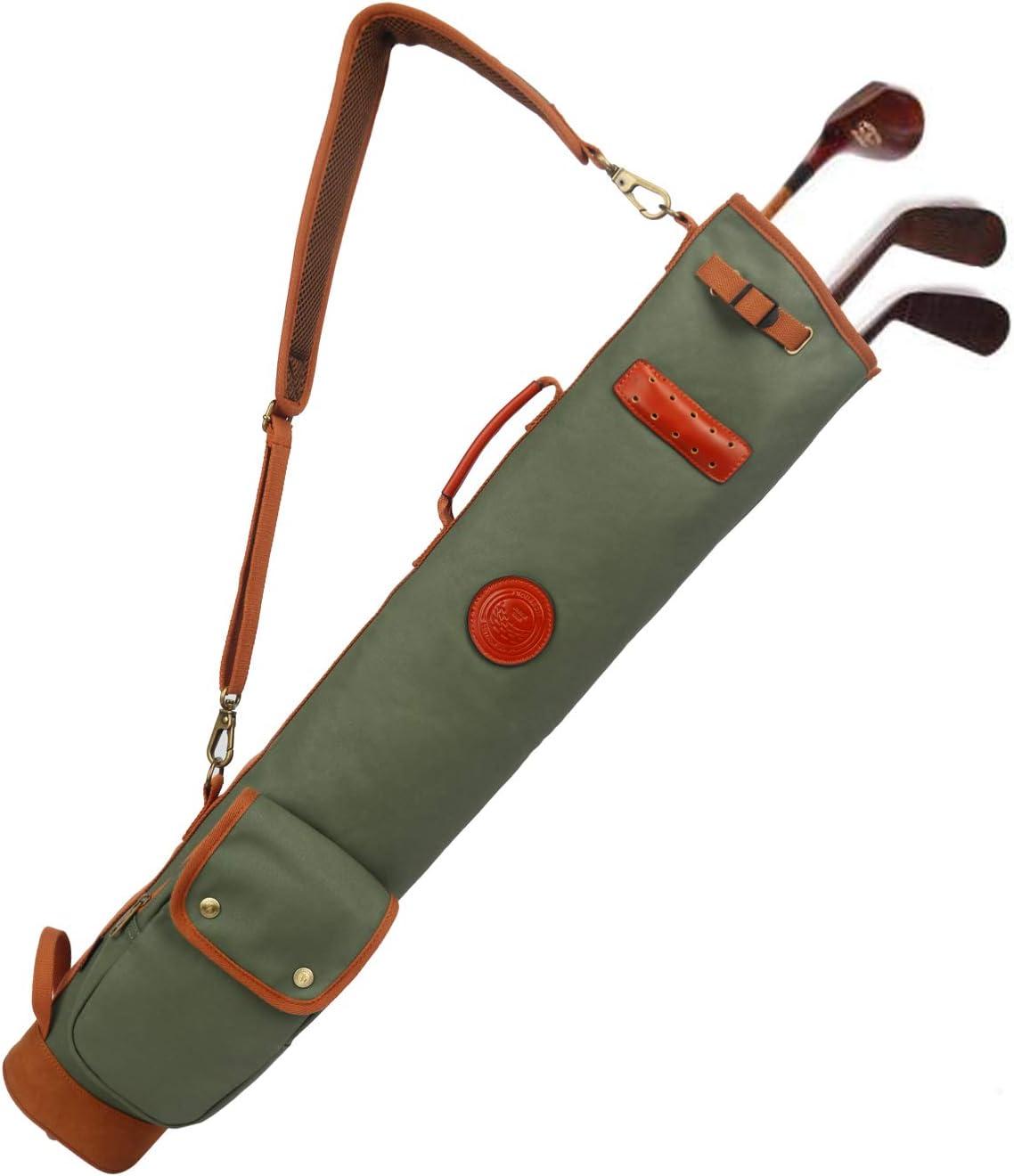 TOURBON Canvas Golf Club Travel Case Lightweight Carry Bag for Men Women