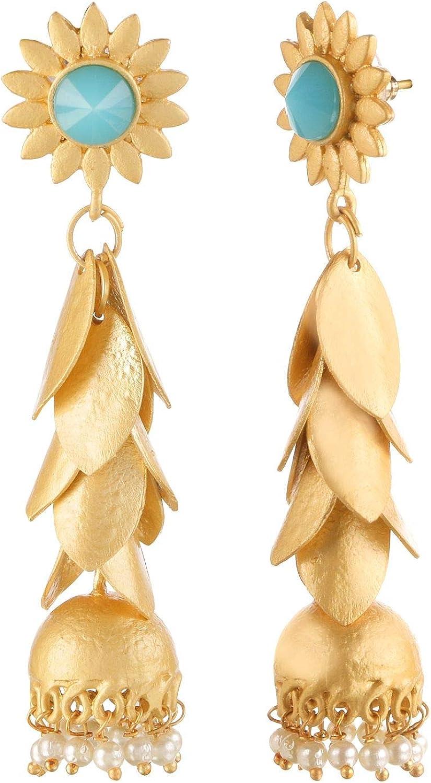 Efulgenz Parure de bijoux avec pendants en forme de feuilles de bollywood indien plaqu/é or 14 carats et perles florales