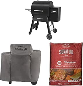 Traeger Grills Ironwood Series 650 Pellet Grill, Black with Cover and 2 Bags of Signature pellets