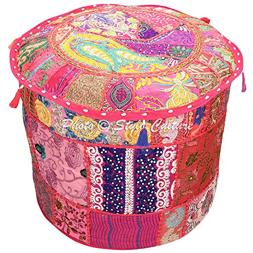 Stylo Culture Ethnic Patchwork Ottoman Pouf Cover Round Patchwork Embroidered Pouffe Ottoman Cover Pink Cotton Floral Traditional Furniture Footstool Seat Puff Cover (16x16x13)