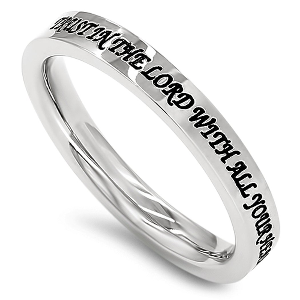 K5 Trust In The Lord With All Your Heart Proverbs 3:5 Ring Christian Scripture Band Spirit and Truth