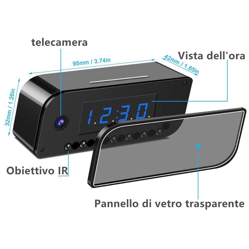 WiFi Despertador Cámara Oculta Niñera inalámbrica Vision Nocturna CAM IP espía Cámara de Seguridad para el hogar con Movimiento Video Activado App Control ...