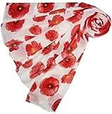 Accessorize-me. - Foulard Floral Motif Coquelicot Spécial Commémoration 1ère Guerre Mondiale - Blanc et Coquelicots Rouges, viscose, TU