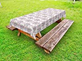 Ambesonne Elephant Outdoor Tablecloth, Elephant Figures with Rich Tribal Ornaments Boho Mexican Details Folkloric Retro, Decorative Washable Picnic Table Cloth, 58 X 104 inches, Multicolor
