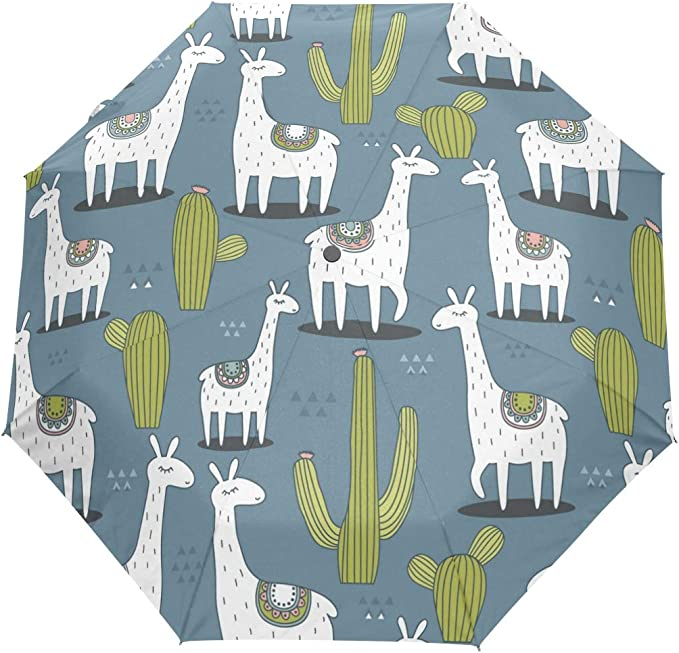 Alpaca Llama Automatic Windproof Travel Umbrella Compact Canopy With Black Glue And UV-resistant Coating