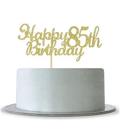 Amazon WeBenison Happy 85th Birthday Cake Topper Gold Glitter