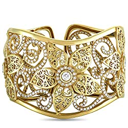 Flower King Yellow Gold Diamond Bangle Bracelet