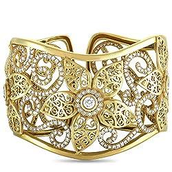 Flower King Yellow Gold Diamond Bangle Bracelet