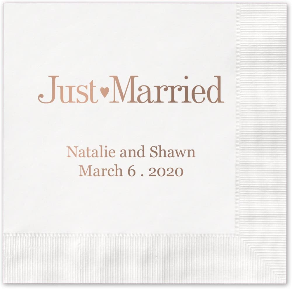 """Canopy Street Just Married Personalized Cocktail Napkins / 100 White Paper 4 ¾"""" x 4 ¾"""" Beverage Napkins with Choice of Foil"""