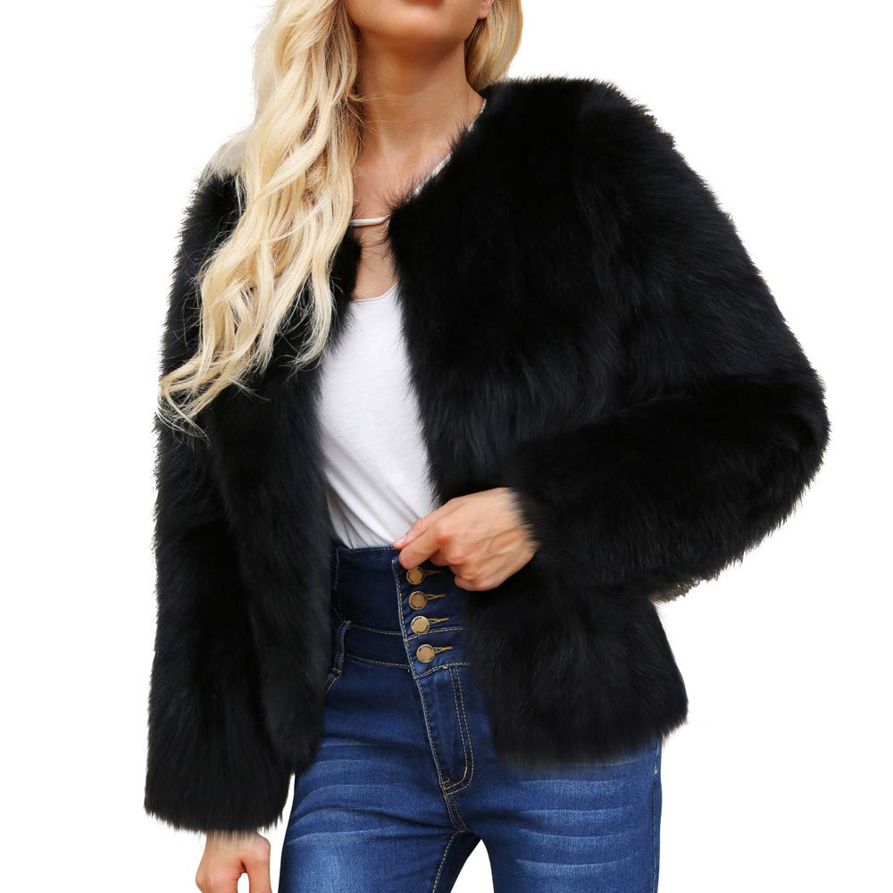 Coats For Women Liraly Fashion Classic Ladies Warm Faux Fur Coat Jacket Winter Solid Parka Outerwear(Black,US-8 /CN-L)