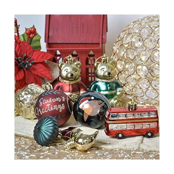 Valery Madelyn Palle di Natale 70 Pezzi di Palline di Natale, 3-10 cm di Strada di Campagna Rosso Verde e Oro Infrangibile Ornamenti di Palla di Natale 7 spesavip
