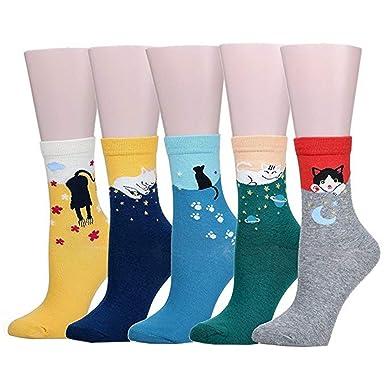 Calcetines de Algodón de Mujers - Bakicey calcetines térmicos Adulto Unisex Calcetines (Gato Casual)