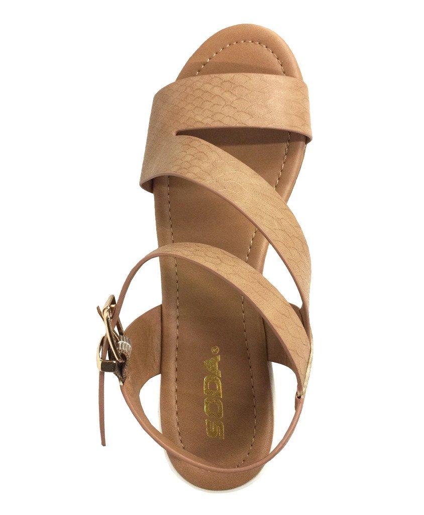 UNVEIL! Women's Open Toe Retro Cross Strap Lug Sole Platform B(M) Wedge Sandals B01GP5D550 7.5 B(M) Platform US Tan Snake Leatherette 57a6ce