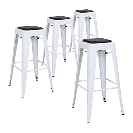 Amazoncom Lch 30 Metal Industrial Bar Stools Set Of 4 Backless