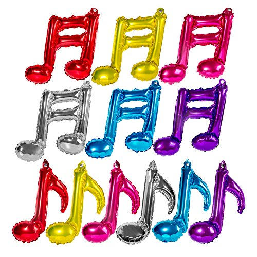 [Set of 12 Music notes Aluminum Foil Balloons for Party, Event Ceremony, Anniversary, Birthday Party Decoration(6 Pcs Quaver +6 Pcs] (Music Party Decorations)
