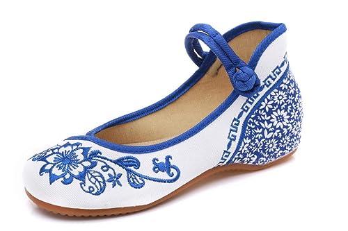 Bordado Zapatos/Alpargatas/Merceditas/Zapatos Bordados de Tela Zapatos de Ocio de Fondo de Buey Nacional de Viento Chino: Amazon.es: Zapatos y complementos