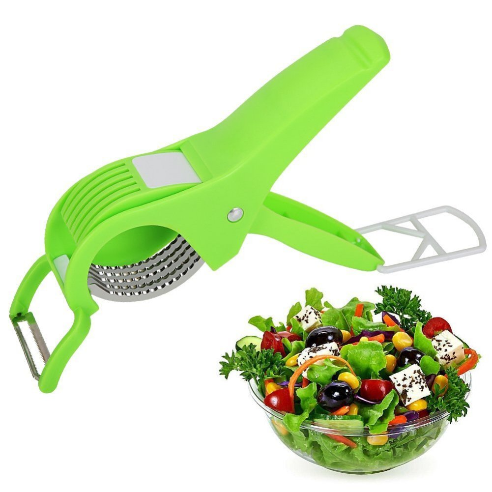 Bornbayb Stainless Steel Salad Scissors, Two-in-One Herb Scissors Kitchen Tool Sharp Blade with Large Soft Grip Anti-Slip Handle