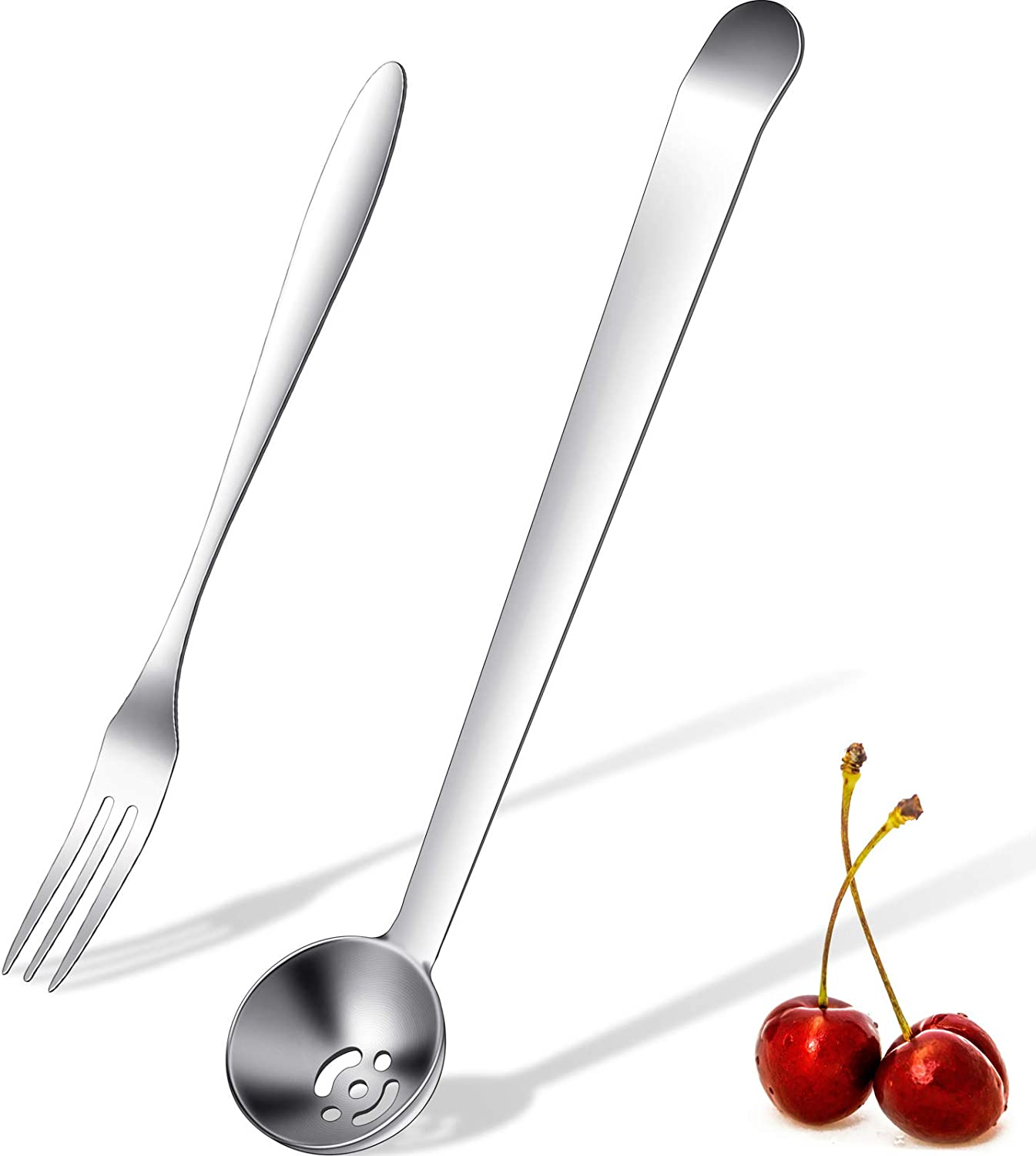 2 Pieces Olive Spoon Strainer Stainless Steel Pickle Forks Set Pick Jar Spoon and Fork Cherry Spoon with Drain Hole Jar Serving Spoon Tools for Onion, Caper Slotted Spoon