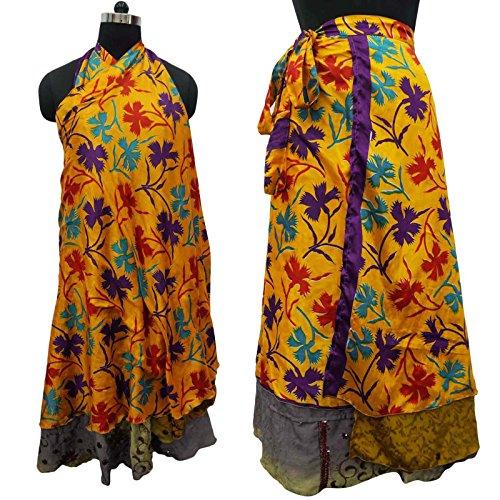 Vestido de seda de la vendimia Jardín Mágico falda del abrigo más el tamaño Halter sarong Rust naranja y púrpura