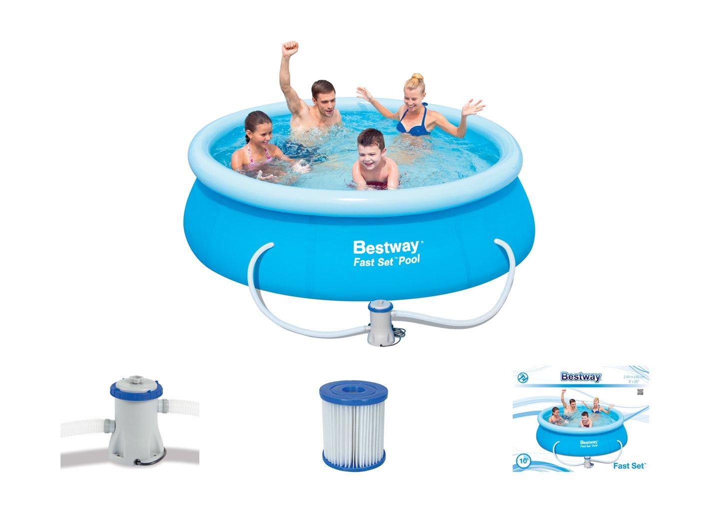 Bestway set piscina gonfiabile fast set pool 244 x 66 cm for Piscina best way