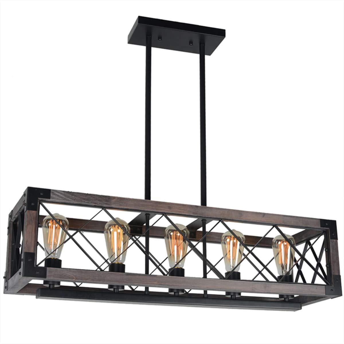 Baiwaiz Rustic Wood Chandelier, Metal Rectangle Dining Room Chandelier Lighting Farmhouse Kitchen Island Light Fixtures 5 Lights Edison E26 032 by Baiwaiz