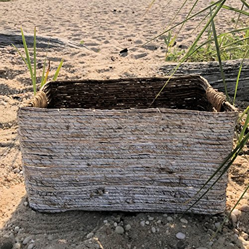 The Beach Chic White Washed Banana Leaf Nesting Baskets, Chunky Weave, Rustic Natural Accents, Cut Out Handles, 15 3/4 Inches Long, By Whole House Worlds (Laundry Banana Leaf Woven Basket)