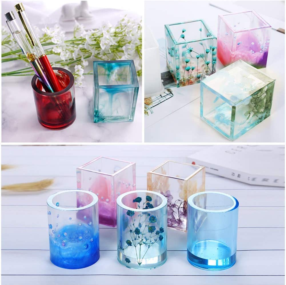 Resin Casting Molds for Concrete 9 Pack Resin Art Molds Include Round,Square,Cylinder,Pendant Niome Resin Moulds Silicone DIY Coaster//Flower Pot//Ashtray//Pen Candle Soap Holder Resin molds Set #1