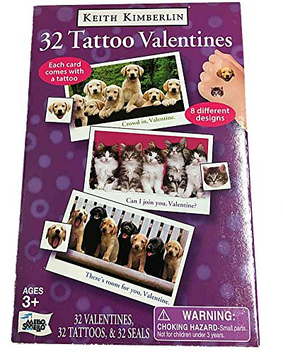 Keith Kimberlin Puppies and Kittens Valentines with tattoos 32 pack]()