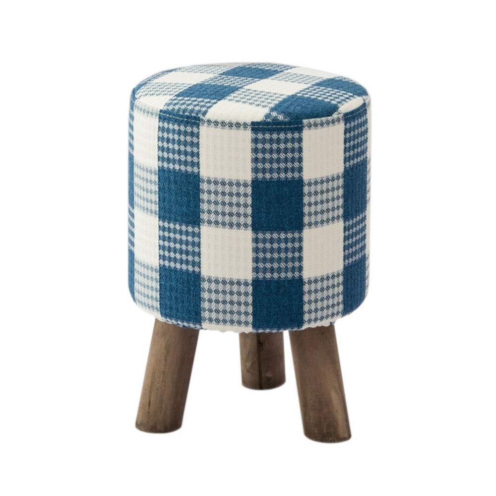 Footstool Poggiapiedi in Lino per Cambiare, scarpiera, in Legno massello, Stile Pastorale, Sgabello Basso per la casa, Altezza 45 cm x Larghezza 31 cm blu Lattice