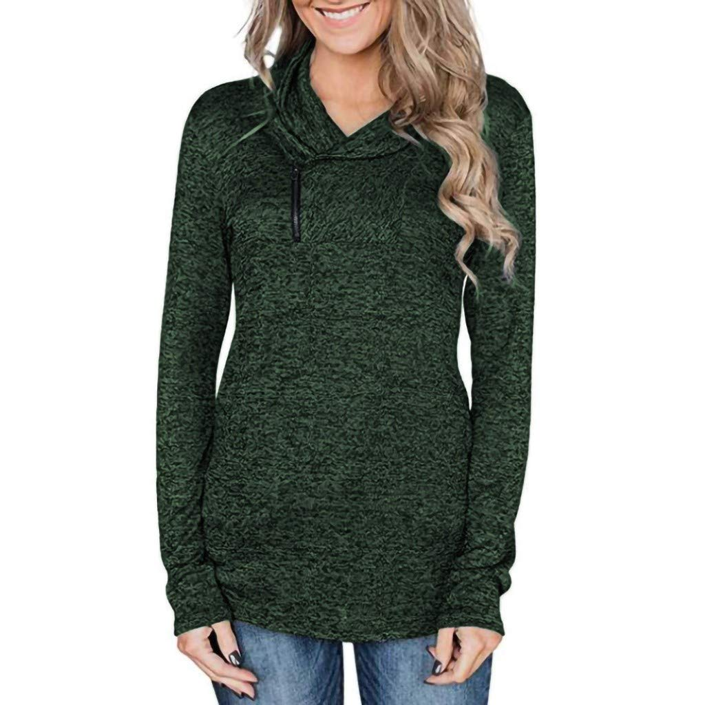 AMOUSTORE Women Casual Top High Collar Long Sleeve Solid Pullover Tunic Tops Sweatshirts Fashion Hoodies Green by AMOUSTORE