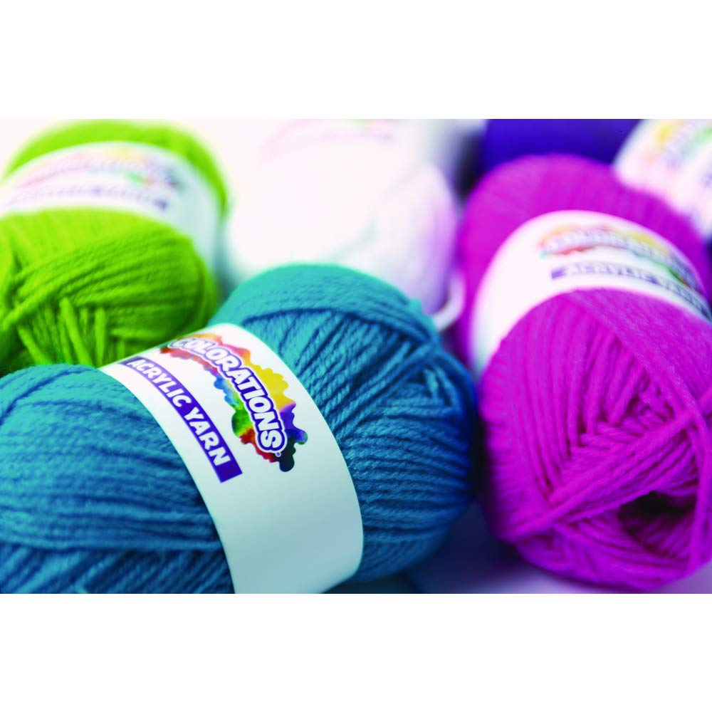 Colorations Acrylic Yarn Rainbow Colors Variety Pack Arts and Crafts Material for Kids and Classrooms (Set of 12 Colors) by Colorations (Image #2)