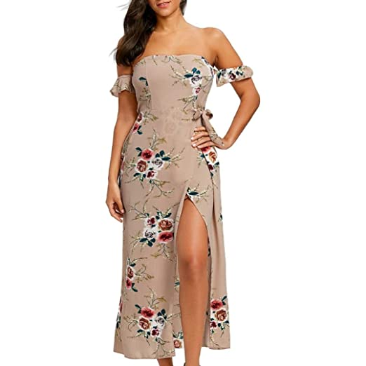3fc8dcccfdb2 Inkach Women s Dress - Fashion Sexy Slit Front Floral Printed Off Shoulder  Long Maxi Dresses (