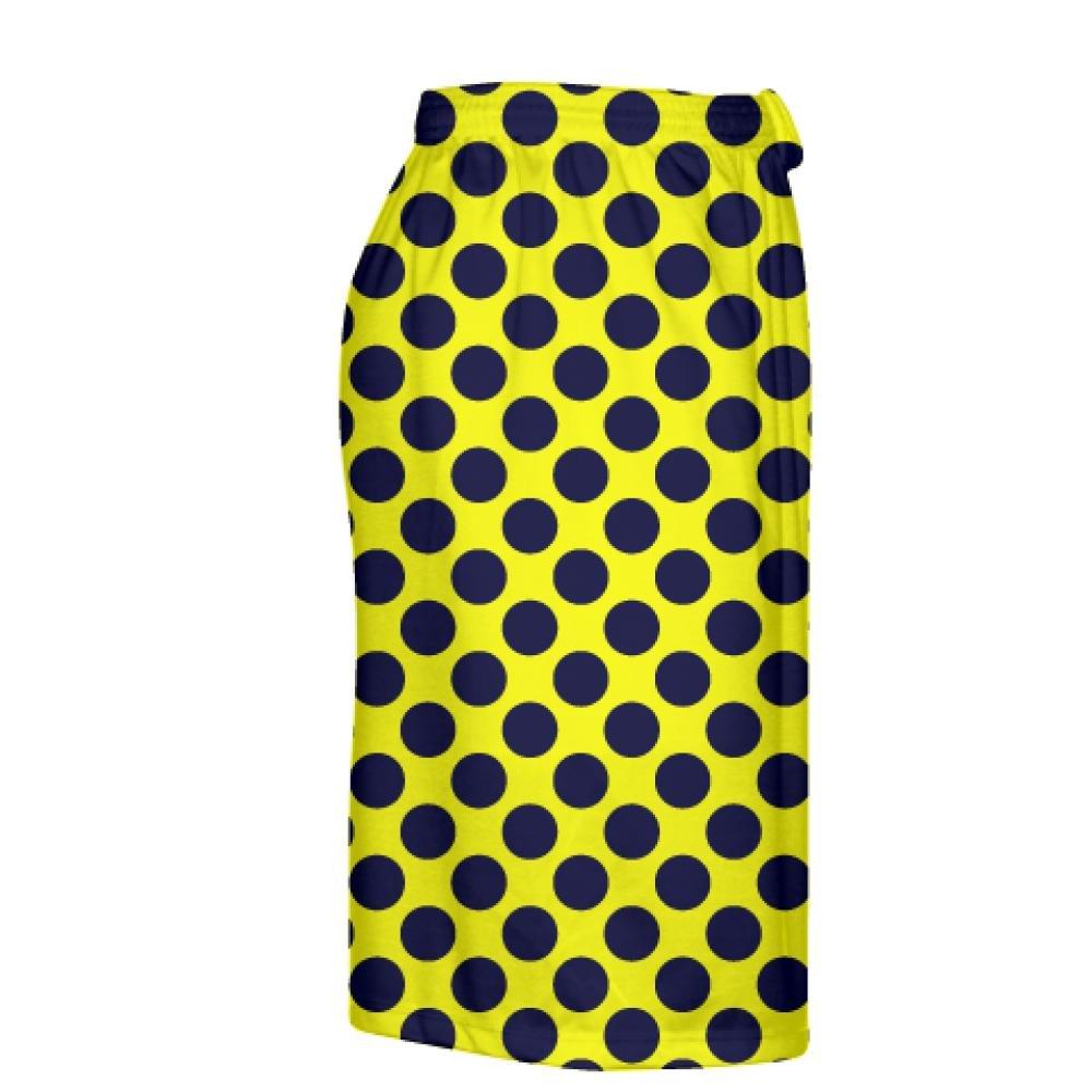 LightningWear Yellow Navy Blue Polka Dot Shorts Polka Dot Lacrosse Shorts Athletic Shorts Youth Large