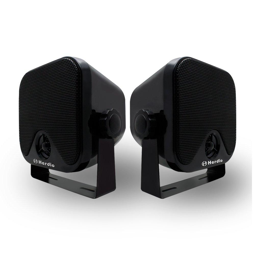 Herdio 100W 4 inch Compact Waterproof Bluetooth Marine Stereo Box Speaker for Boat ATV UTV Heavy Duty Powersports Vehicles Courtyard (Black)