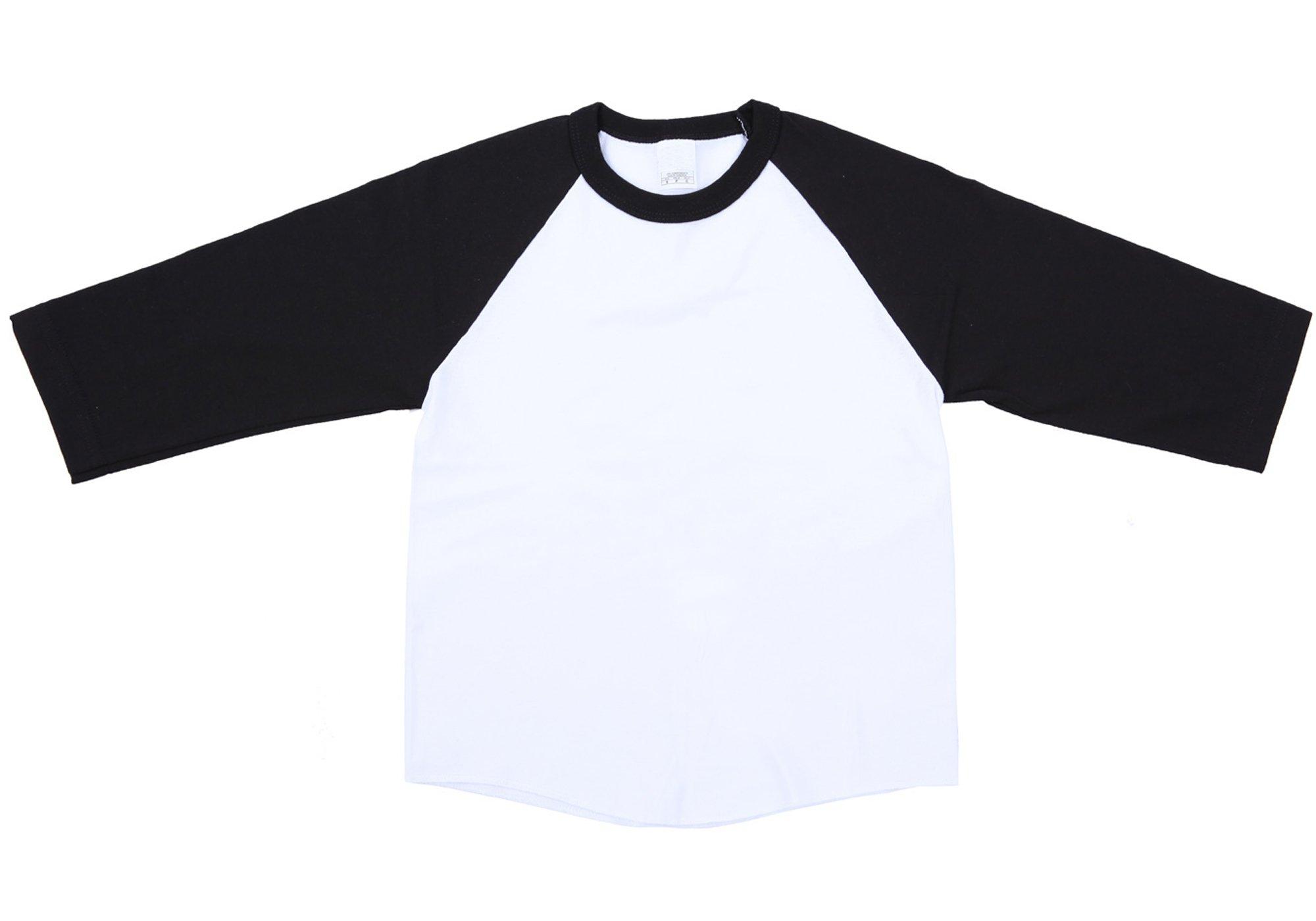 Ola Mari Unisex Kids Raglan Baseball T Shirt Top, Small, White/Black