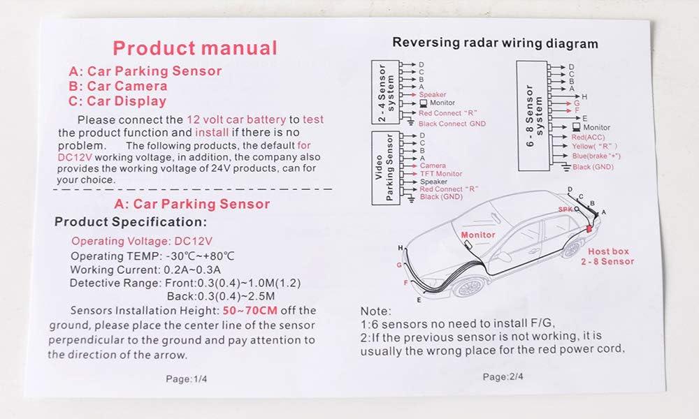 Waterproof Reverse Parking Sensors for Car Auto Vehicle Truck Camper Van RV Cocar Backup Parking Radar System Red 4 Red Color Parking Sensors Distance Detection /& Sound Warning