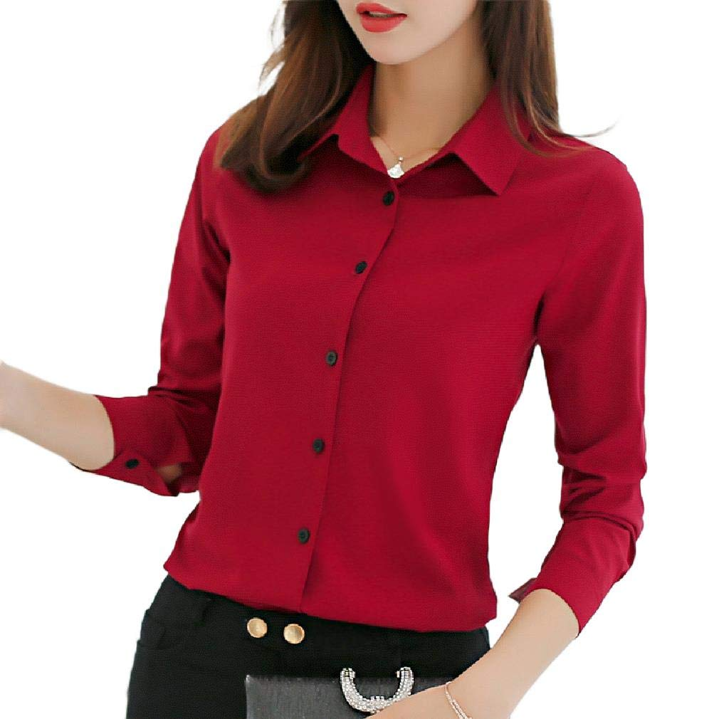 CuteRose Womens Long-Sleeve Point Collar Button-Front Blouse Solid Color Shirt