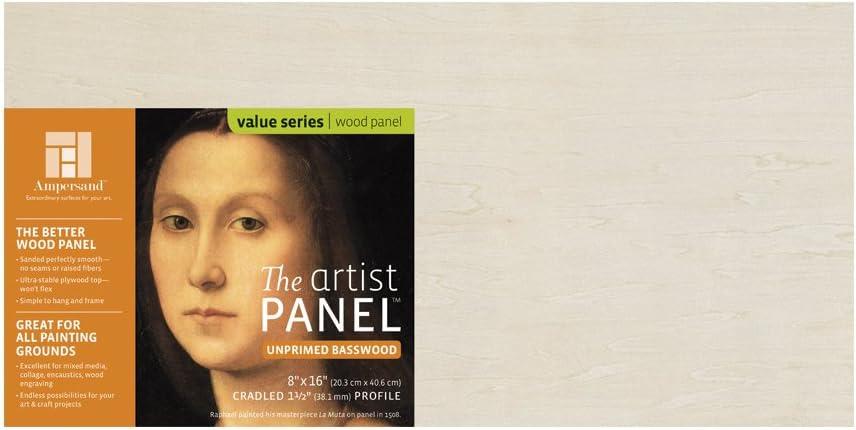18x24 Ampersand Art Supply Unprimed Basswood Artist Panel 1-1//2 Cradled Profile