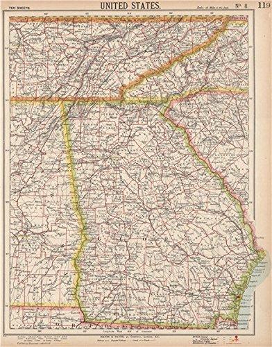 Map Of Georgia Railroads.Amazon Com Georgia Southern Appalachia Alabama Tennessee Nc Sc