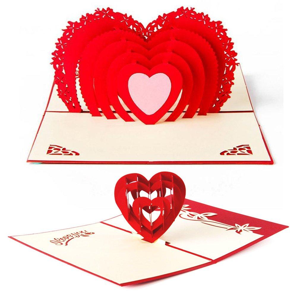 Amazon.com: 3D Love Pop Up Card and Envelope - Romantic Unique Pop ...