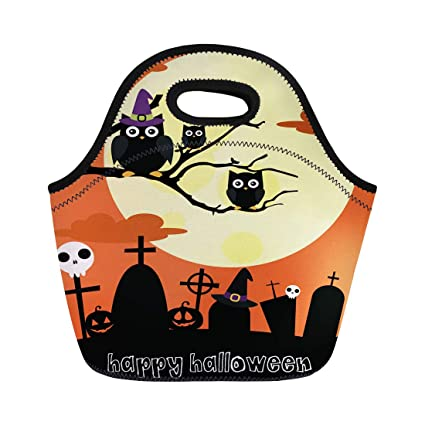 Amazon.com Semtomn Lunch Tote Bag Orange Cute Happy
