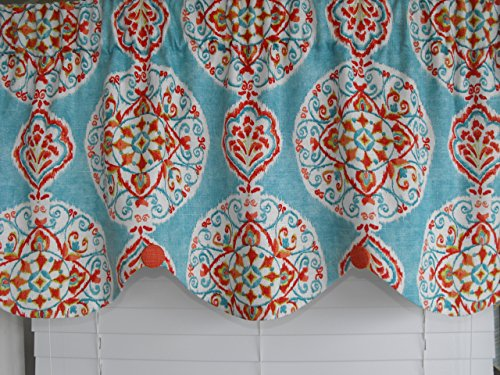 Window curtain valance. Light teal background with dark orange, white, light orange, red, and dark teal