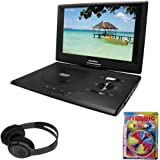 "Sylvania 13.3"" Swivel Screen Portable DVD Player w/ USB/SD Card Reader Black (SDVD1332) + Bluetooth Bundle with Wireless Headphones"